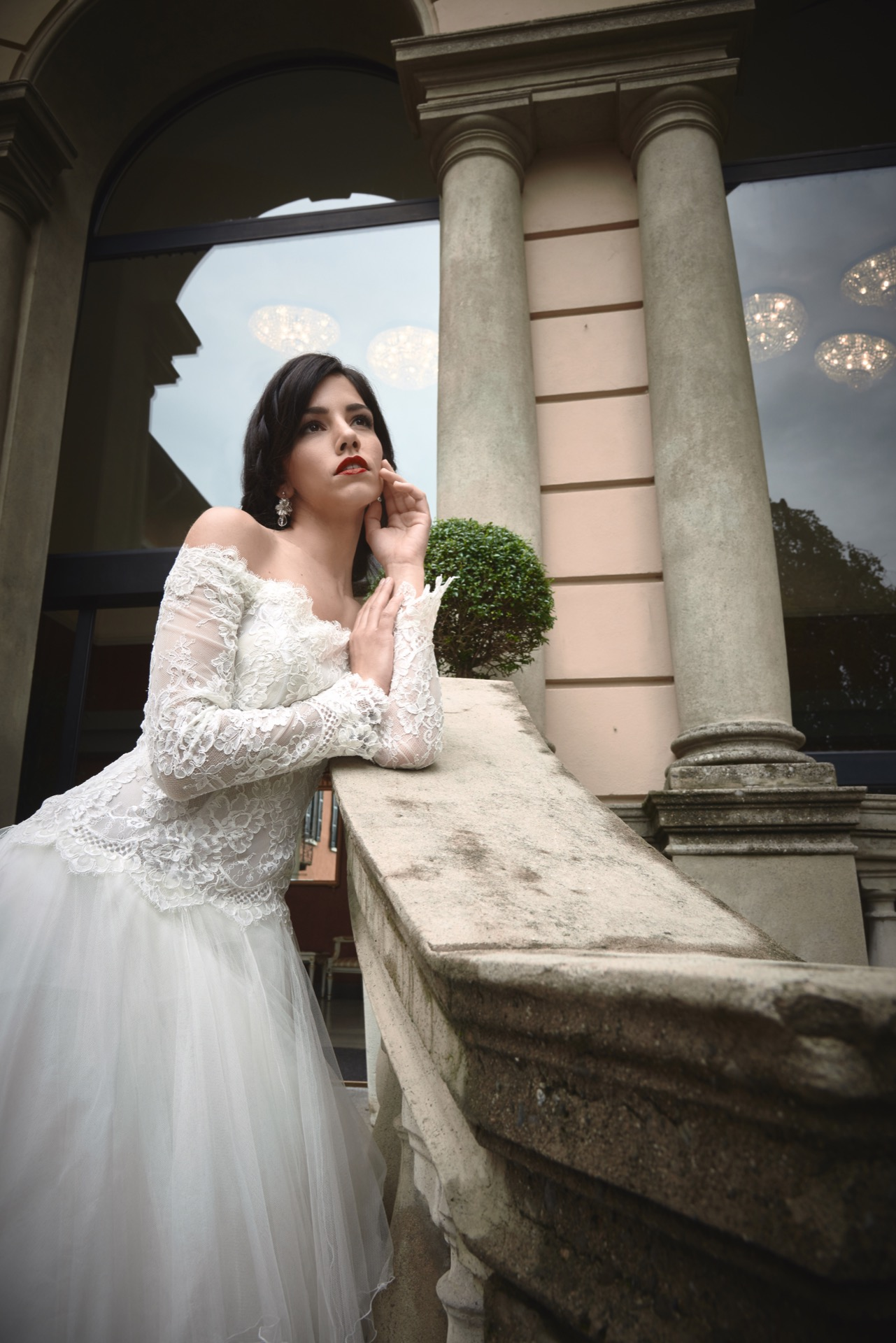 portrait, wedding, dress, vintage, italy, como, lake